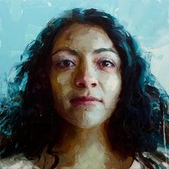 """Ana Hernandez"" original oil painting, large, portrait, face, female, gestural"