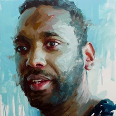 """John Isiah Walton"" oil painting on canvas, large, portrait, male, gestural"