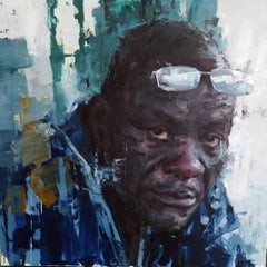"""""""Richard"""", contemporary original oil painting by Aron Belka"""