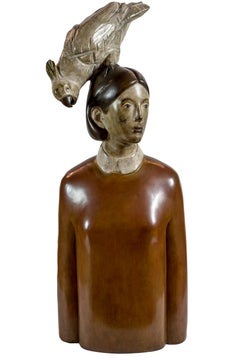 Woman with Parrot - Wooden Sculpture by Aron Demetz - 2000