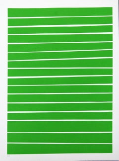 16 Light Green Lines - bold, vibrant, saturated, contemporary, acrylic on paper