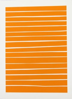 16 Orange Lines - bold, vibrant, saturated, contemporary, acrylic on paper
