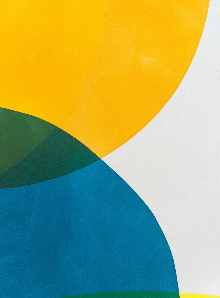 2 Yellow Suns - Bright circular shapes of blue, yellow, red and magenta  - Orange Abstract Painting by Aron Hill