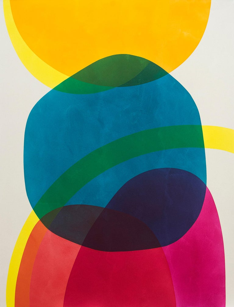 Aron Hill Abstract Painting - 2 Yellow Suns - Bright circular shapes of blue, yellow, red and magenta