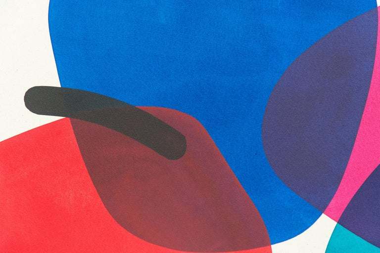 2 Yellow Suns with Red and Blue - Circular, oblong, and arched forms - Painting by Aron Hill