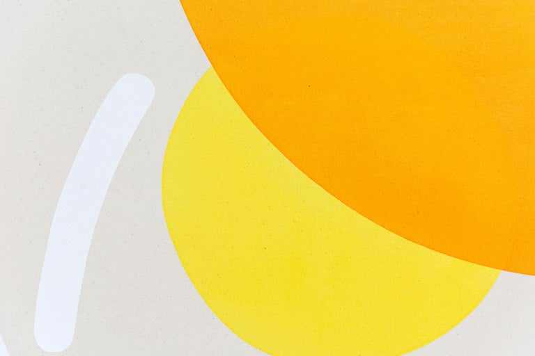 2 Yellow Suns with Red and Blue - Circular, oblong, and arched forms - Contemporary Painting by Aron Hill
