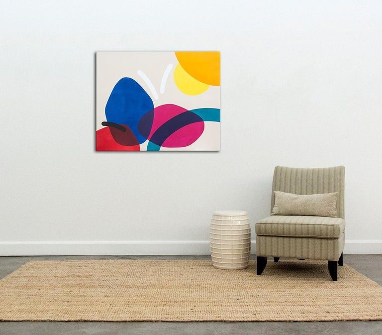 An abstracted landscape emerges in this horizontal composition of circular, oblong, and arched form expressed in vivid red, blue, magenta, and butter yellow.  Hill's practice is focused on a formalist type of painting that recalls aspects of