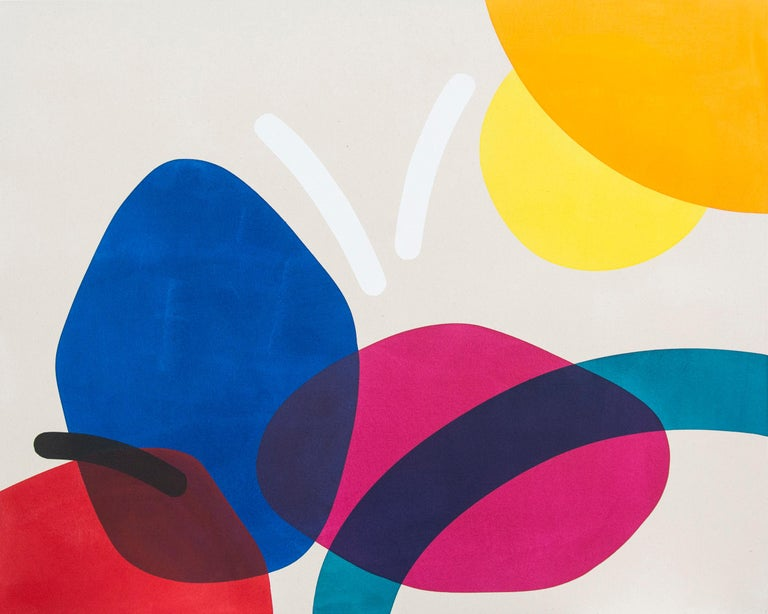 Aron Hill Abstract Painting - 2 Yellow Suns with Red and Blue - Circular, oblong, and arched forms