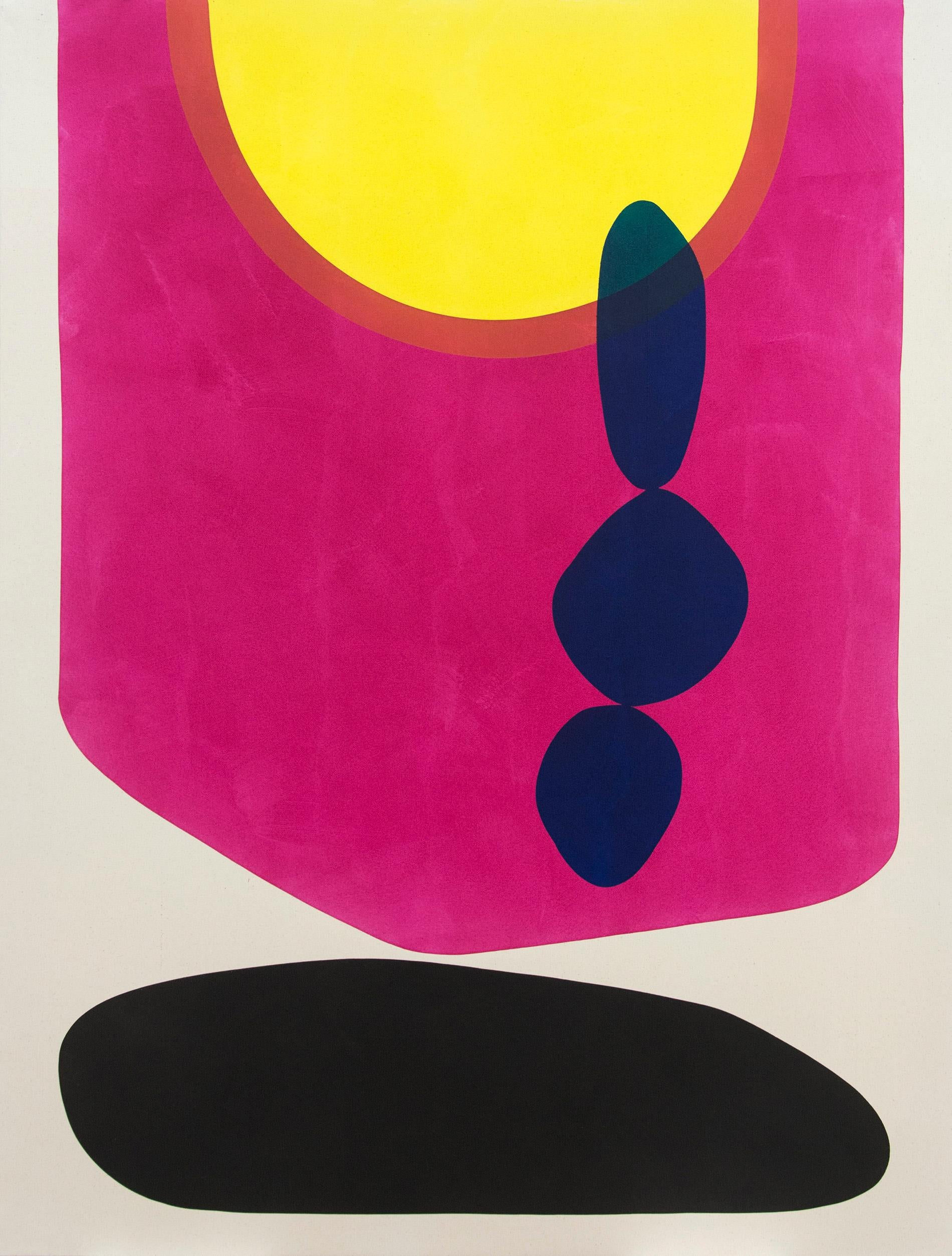 3 Rocks Against Magenta - brightly coloured shapes of magenta and yellow