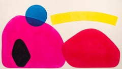 A Large Yellow Arch - bright, colorful, abstract shapes, acrylic on canvas