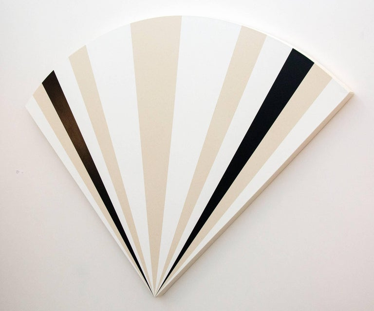 Fan B ,1231212121321 - alternating black & white sequence in art deco style - Contemporary Painting by Aron Hill