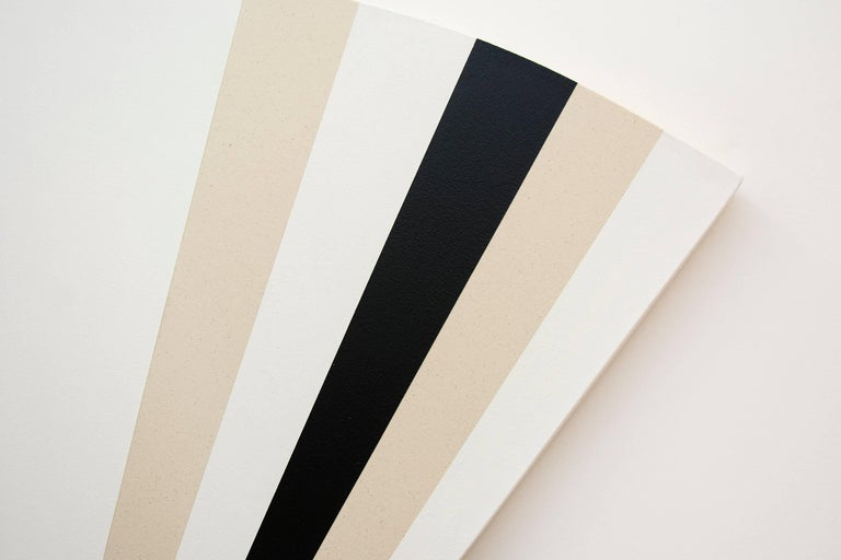 Fan B ,1231212121321 - alternating black & white sequence in art deco style - Gray Abstract Painting by Aron Hill