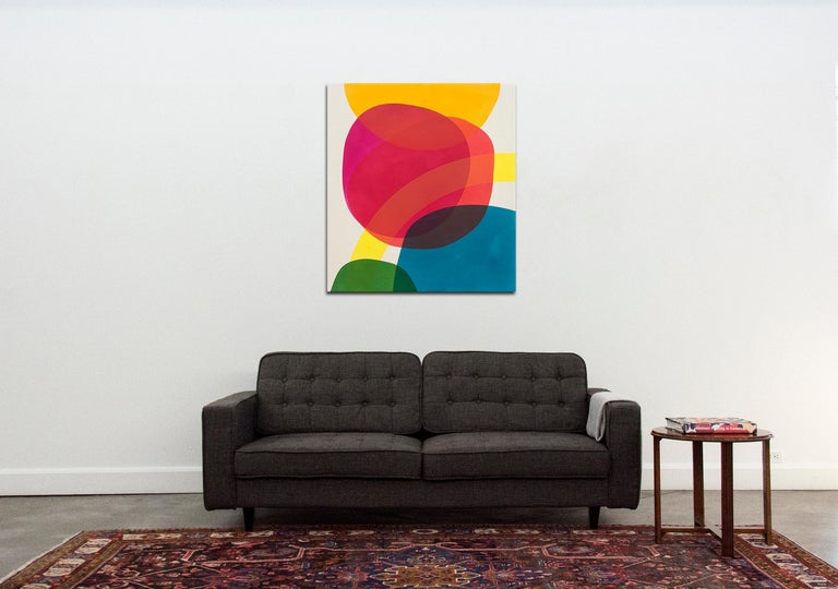 Large Red and Magenta - bright and colourful intersecting shapes 1