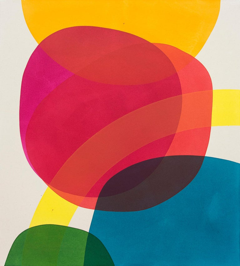 Aron Hill Abstract Painting - Large Red and Magenta - bright and colourful intersecting shapes