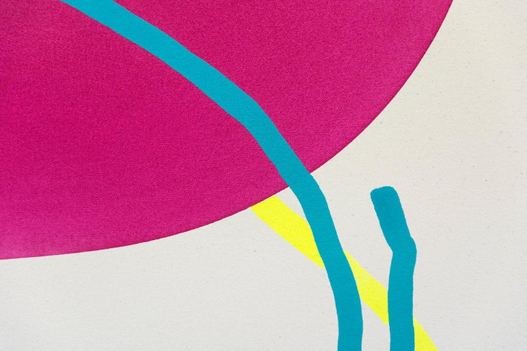 Magenta Circle with Blue and Yellow Line - Abstract Geometric Painting by Aron Hill