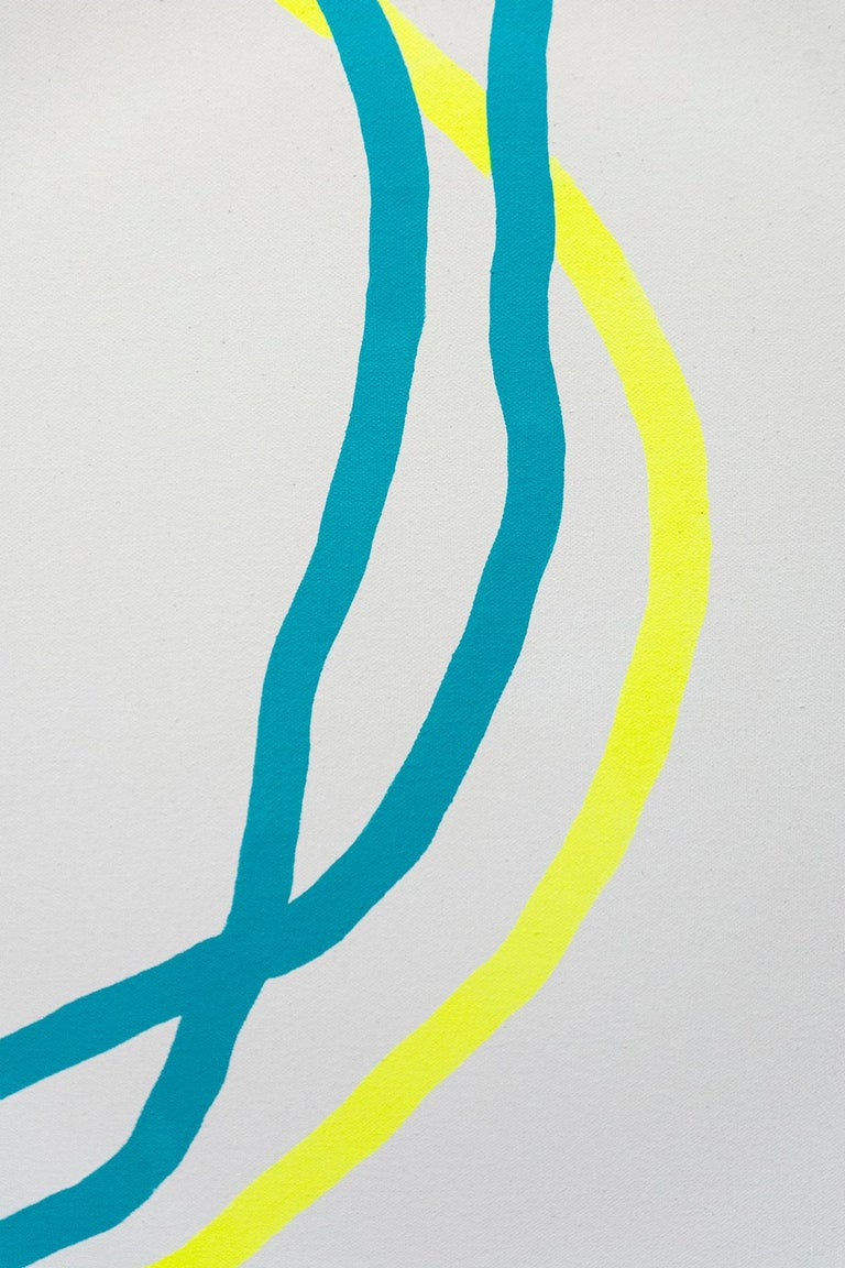 Magenta Circle with Blue and Yellow Line - Beige Abstract Painting by Aron Hill