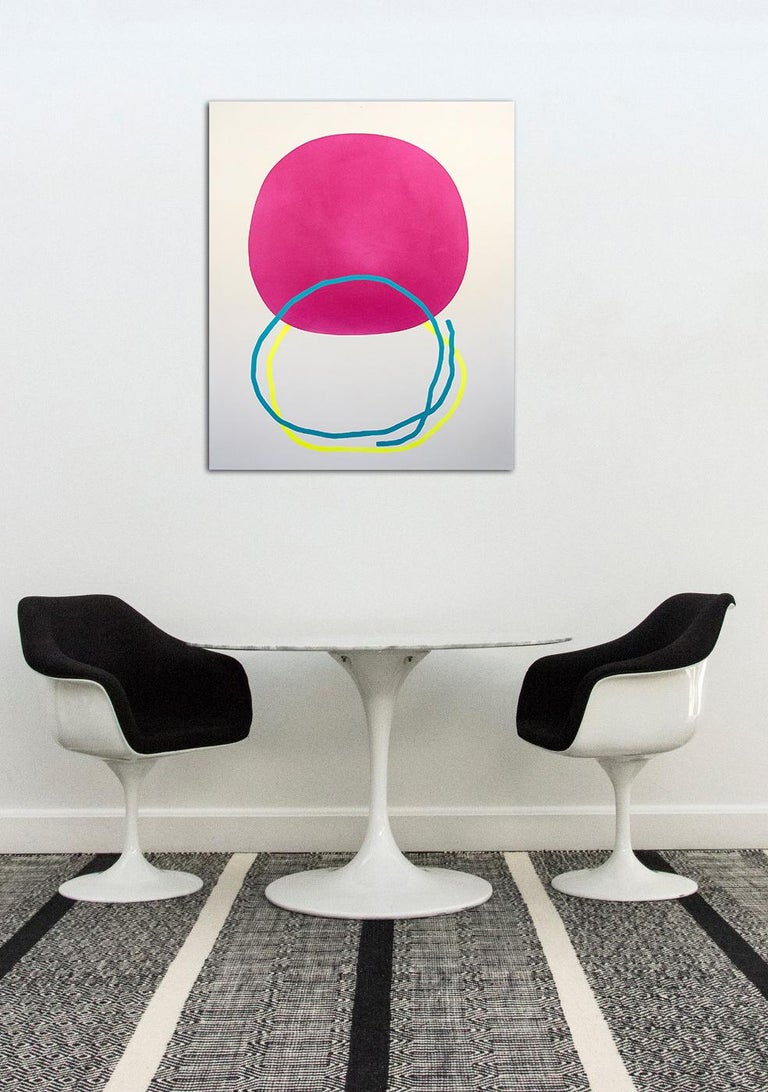 Two loops of cerulean and lemon intersect with a bold round of magenta in this playful acrylic on canvas by Aron Hill.  In his paintings, Aron Hill (b. 1977, Calgary, AB) finds conceptual company in the late Modernist work of Jack Bush and William