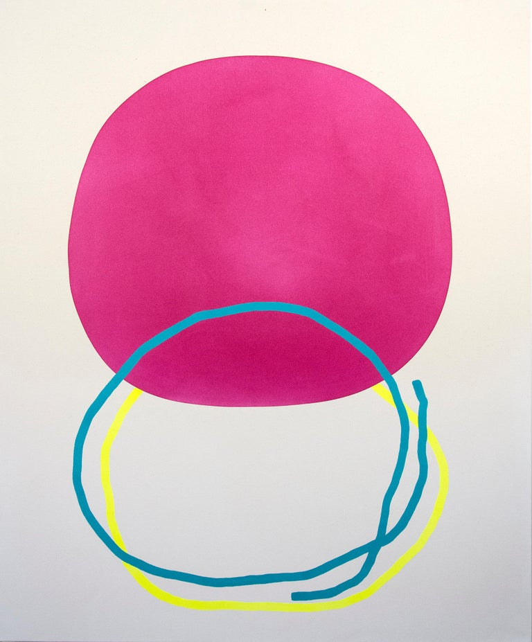 Aron Hill Abstract Painting - Magenta Circle with Blue and Yellow Line