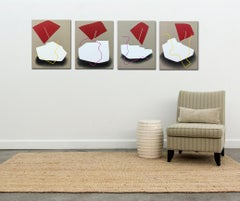 Red and White Blocks - grouping of four playful paintings on linen