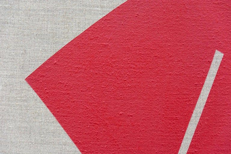 Red and White Blocks  No 3 - Painting by Aron Hill