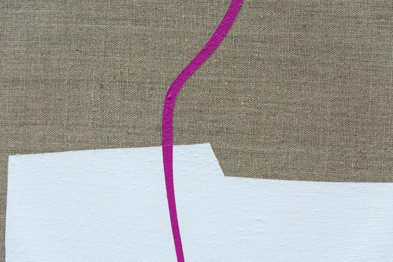 A split red polygon hovers above flat, ice-white boat shape in this playful minimalist acrylic on linen by Aron Hill. A black shadow gives depth to the composition that is completed by a curated string of magenta. There are four paintings in this