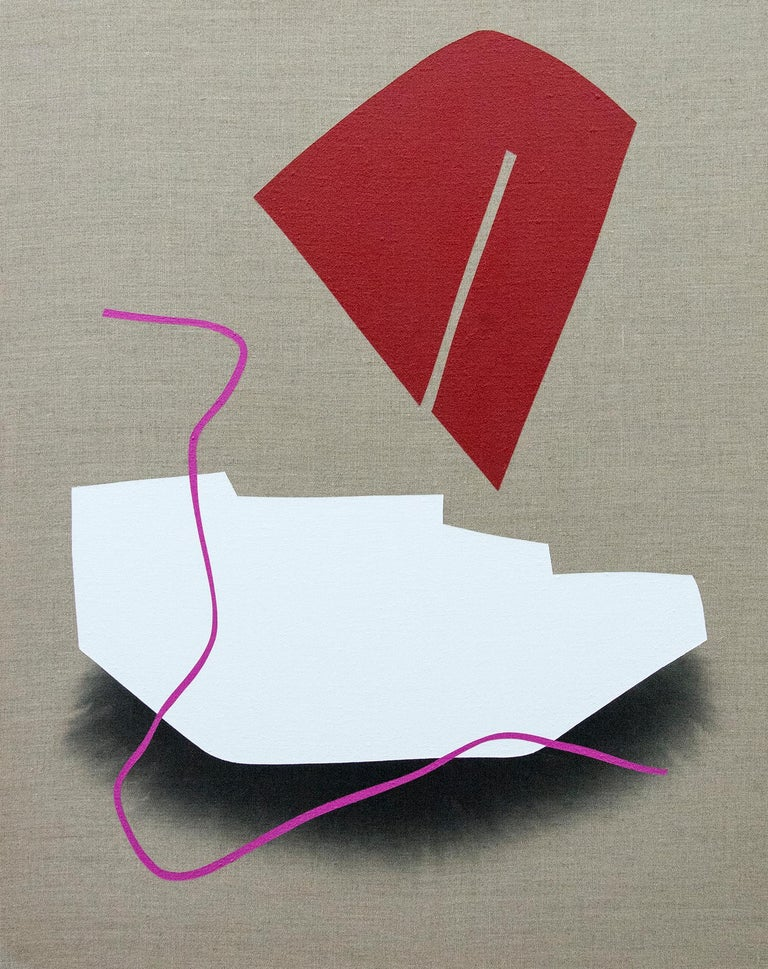 Aron Hill Abstract Painting - Red and White Blocks  No 3