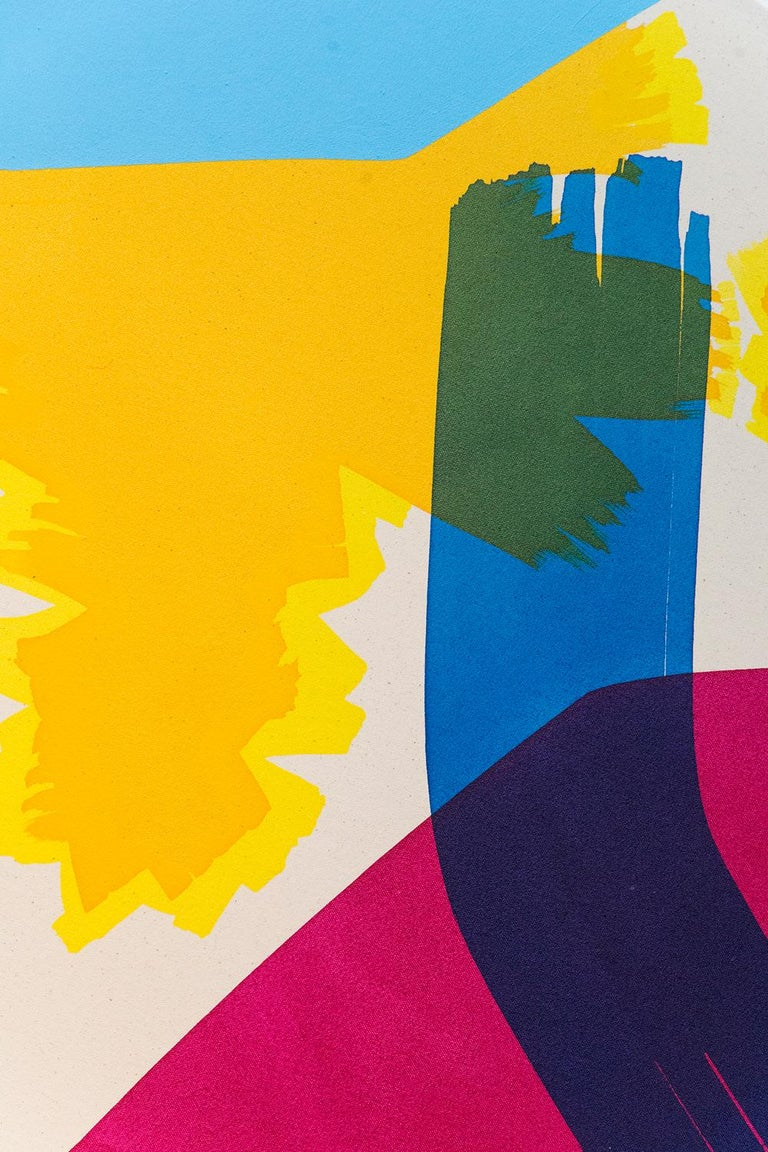 The Wrestler with Yellow and Yellow - Contemporary Painting by Aron Hill