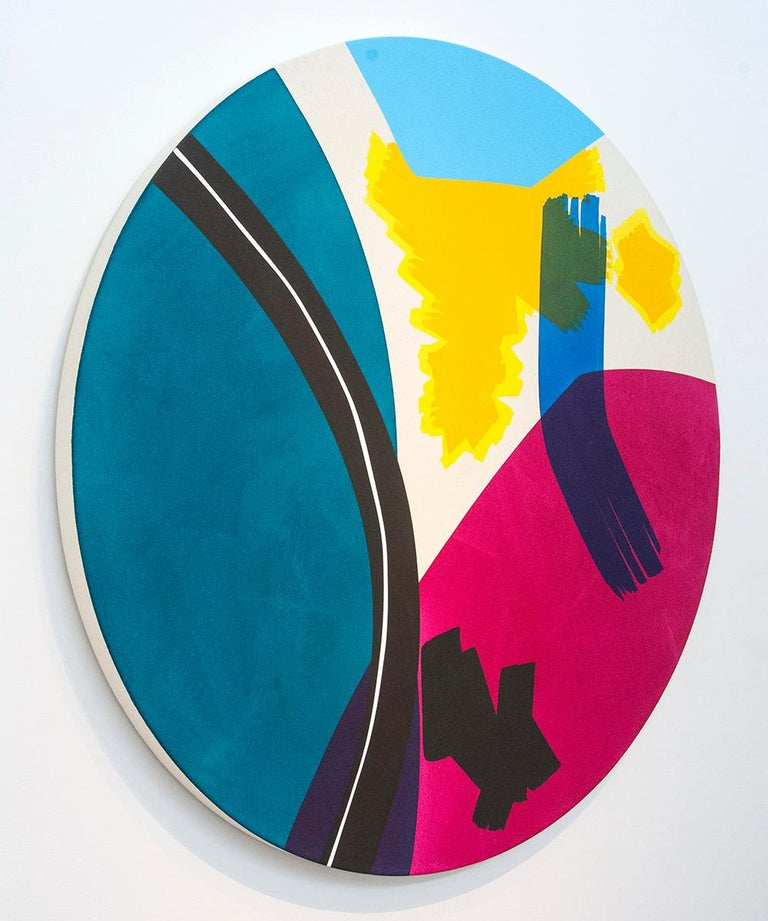 The Wrestler with Yellow and Yellow - Blue Abstract Painting by Aron Hill
