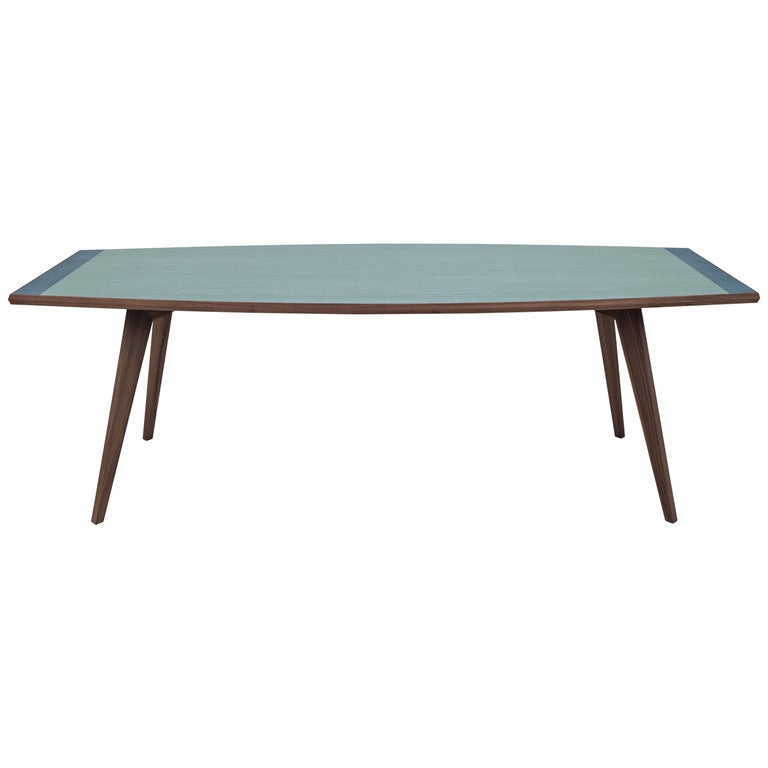 Aroon Luxury Table Wallnut Structure, Fabric Effect Top and Inlay on Two Sides For Sale