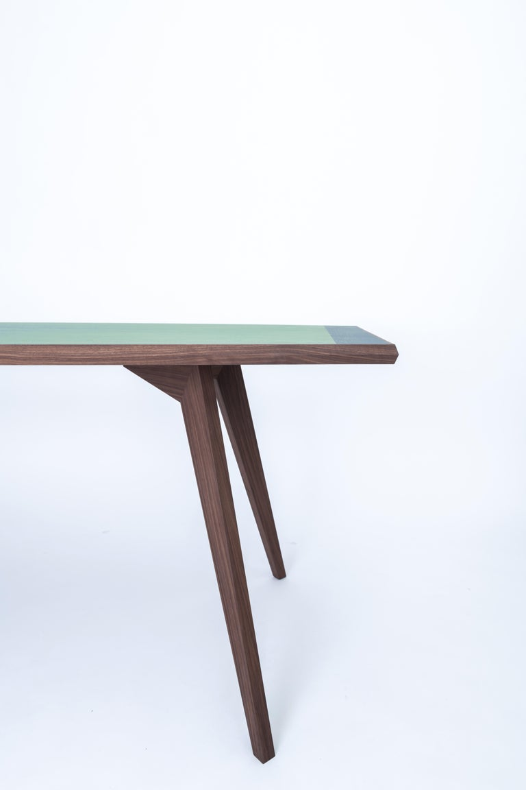 Aroon Luxury Table Wallnut Structure, Fabric Effect Top and Inlay on Two Sides In New Condition For Sale In Milano, IT