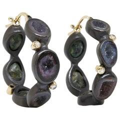 Around the World Geode Silver Hoop Earrings