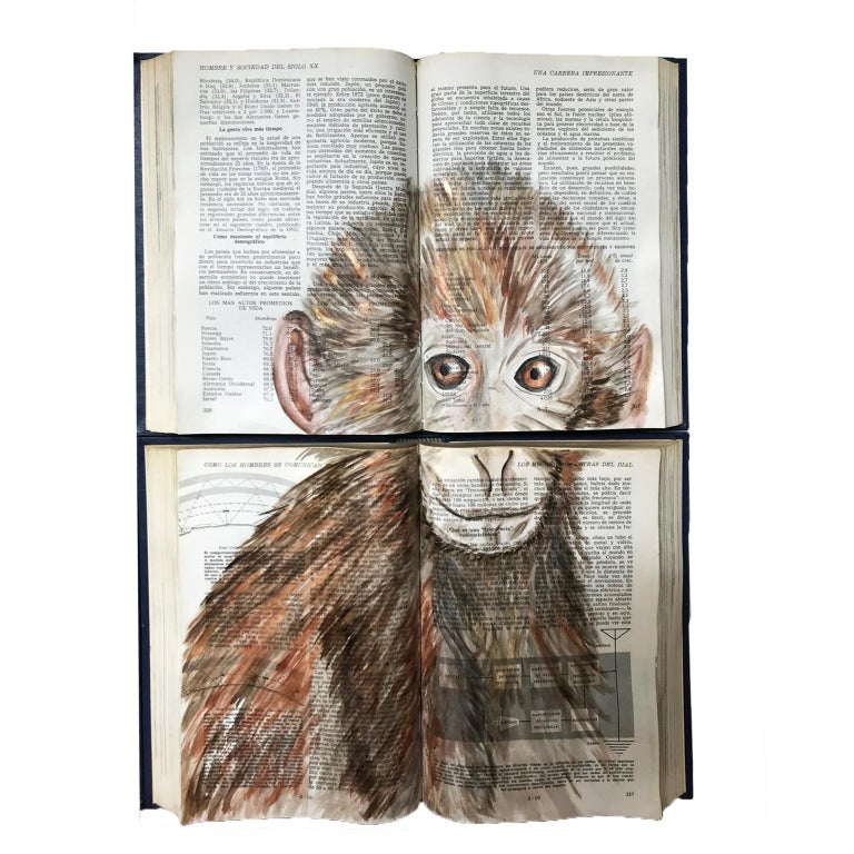Beautiful water color and acrylic animal painting on unique book canvass. Perfect for children´s and baby´s bedrooms. Check out more animal options. This piece decorates delicately and is easy to  hang on walls for it is not heavy and has metal