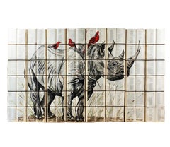Beautiful Sepia Rhinoceros Water Color Painting With Birds on Book Canvass