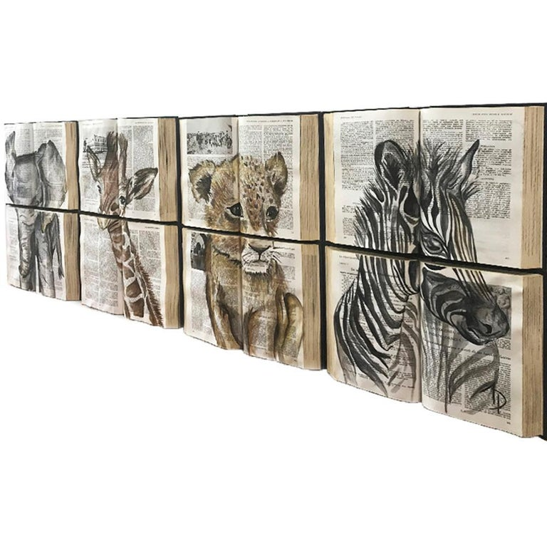 Beautiful Water Color Baby Animal Painting on Book Canvass For Sale 11