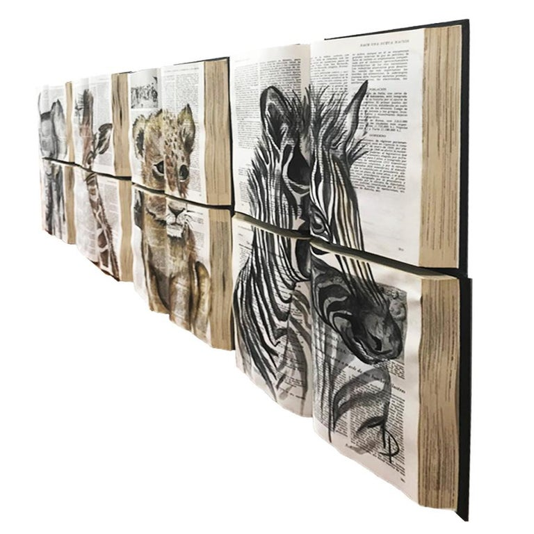 Beautiful Water Color Baby Animal Painting on Book Canvass For Sale 2