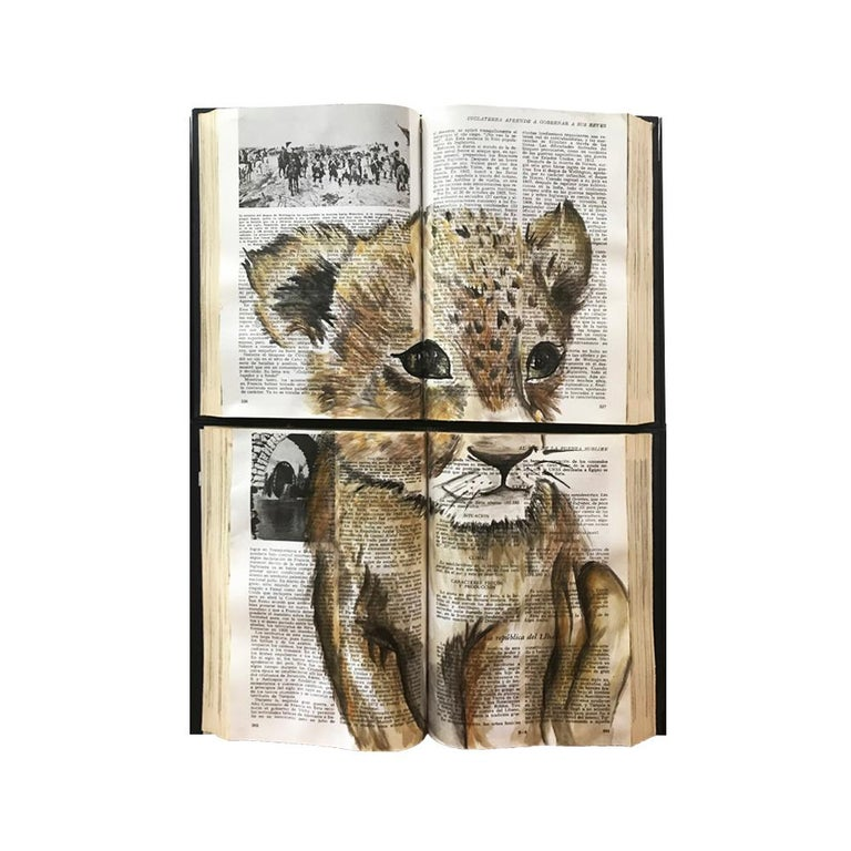 Beautiful Water Color Baby Animal Painting on Book Canvass For Sale 3