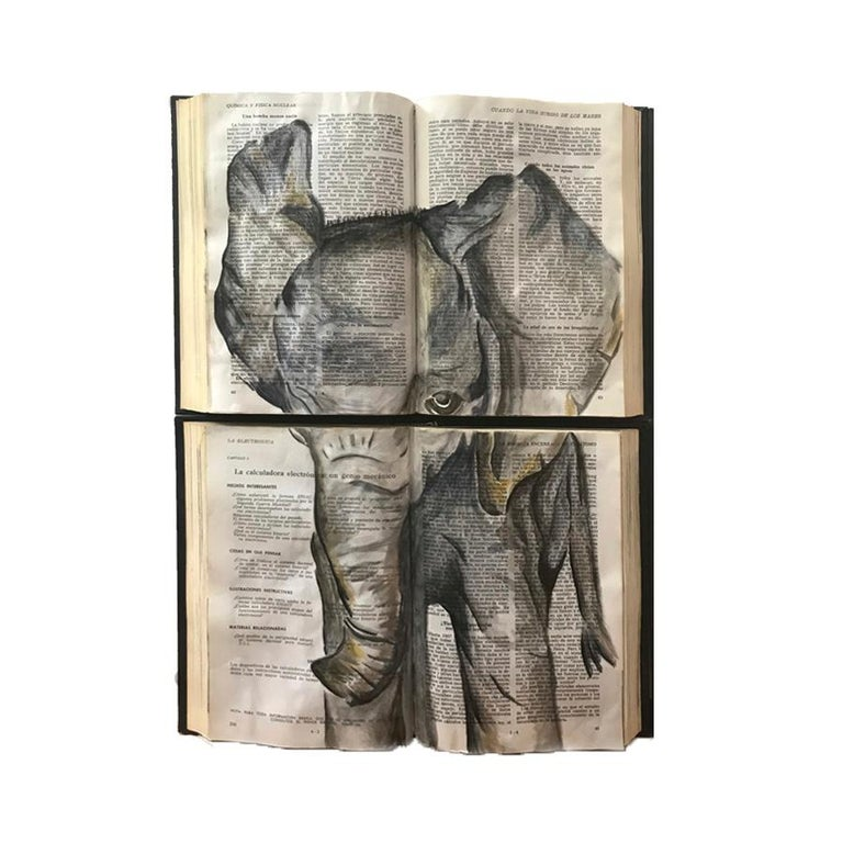 Beautiful Water Color Baby Animal Painting on Book Canvass For Sale 4