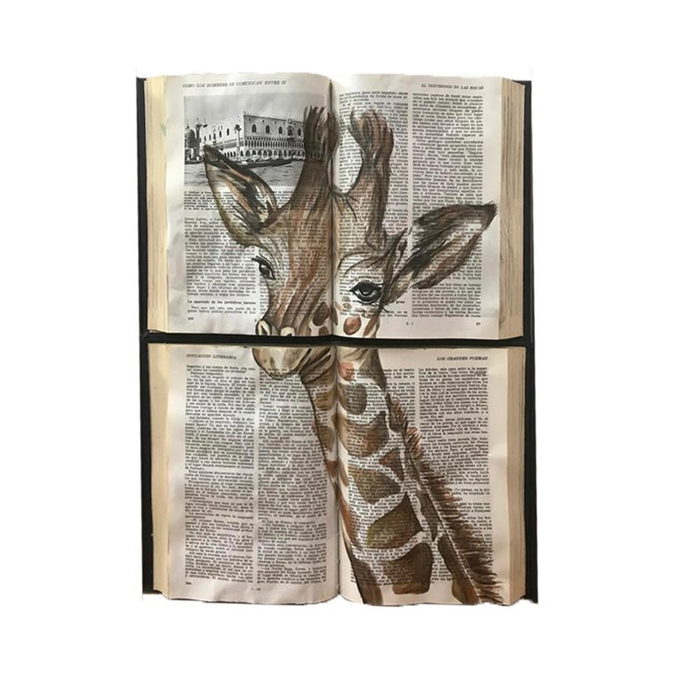 Beautiful Water Color Baby Animal Painting on Book Canvass For Sale 5