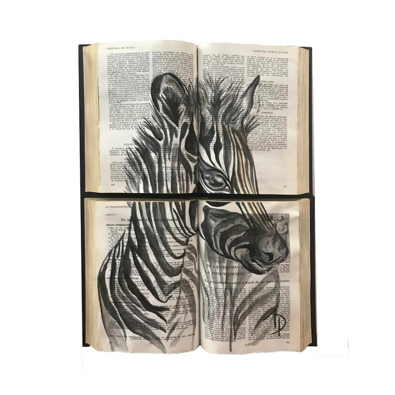 Beautiful Water Color Baby Animal Painting on Book Canvass For Sale 6