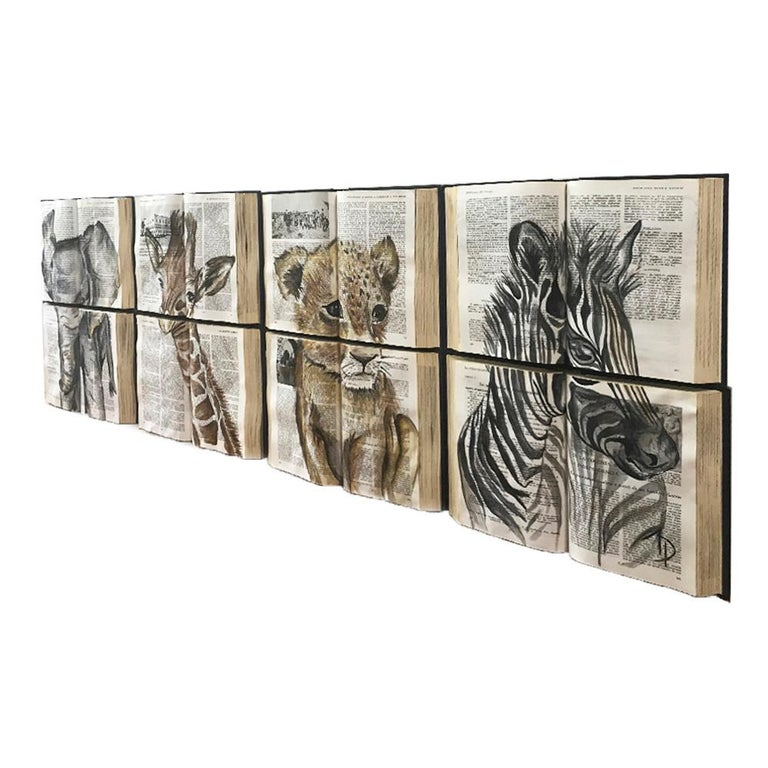 This beautiful water color painting on books is ideal for children´s bedrooms and playrooms. It´s colors combine perfectly with spaces for they are overall neutral.  The book canvass transmit 3d feeling, making them seem as if their fantasy stories