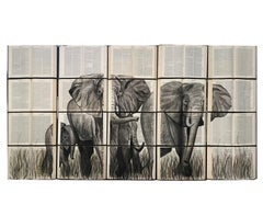 Beautiful Water Color Painting on Recycled Books, Elephant Lovers