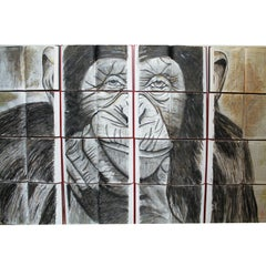 CHIMPANZEE. Watercolor. Nature. Animals. Sepia. Book Canvass.
