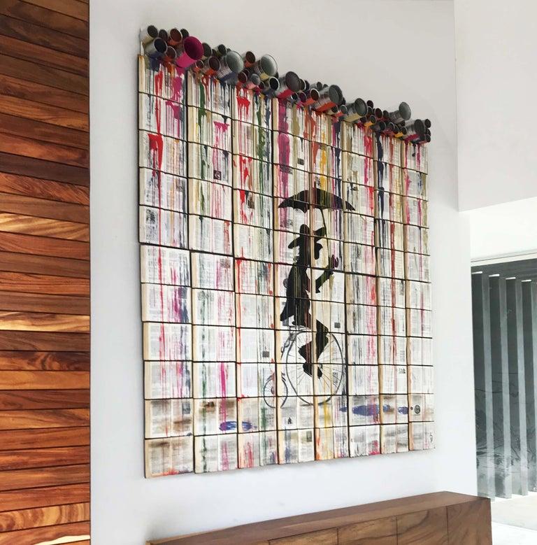 "Arozarena De La Fuente Figurative Painting - ""Chromatic Rain Curtain"" Colorful Modern 3D Work on Unique Book Canvass"
