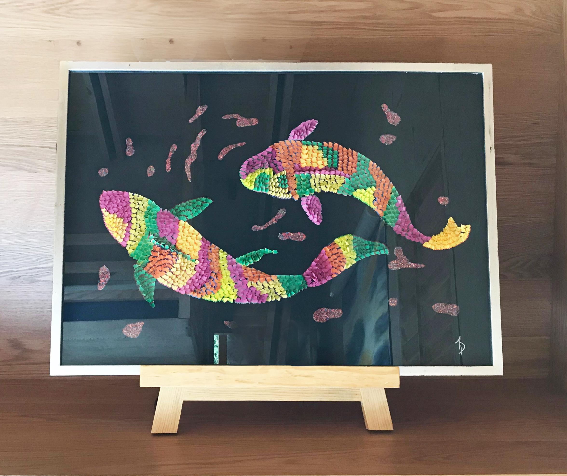 Colorful Fish Comes With Easel Wooden Base