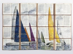 Colorful SailBoats on Unique Recycled Book Canvass