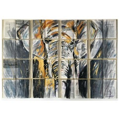 ELEPHANT LOVERS. Water color on book canvass. Modern. Animal Paintings