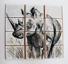 Rhinoceros Water Color Painting on Unique Book Canvass. New Life for Books