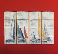 """Sail Boats in Perfect Wind"" Unique Water Color Painting on Book Canvass"