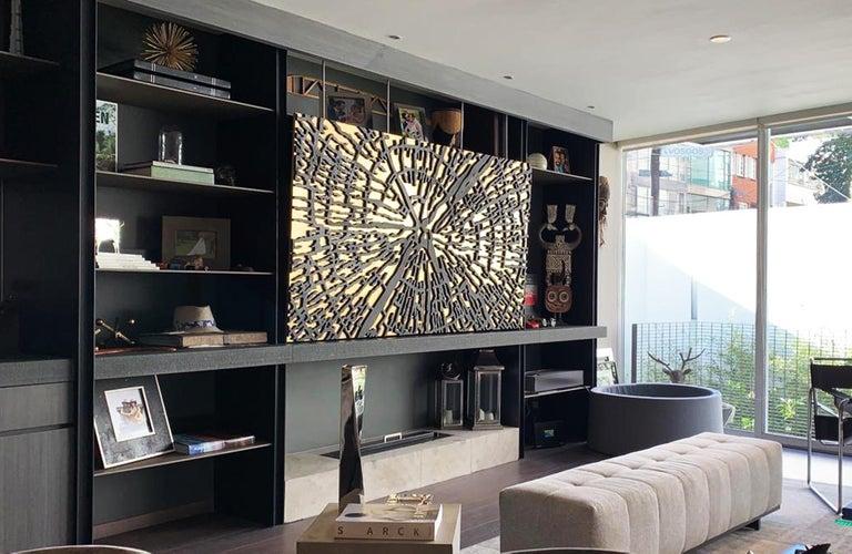 Abstract Golden Tree Formations - 3d sculpture for walls - Contemporary Art by Arozarena De La Fuente