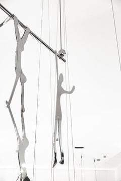 ACROBATS. Human Figurative Stainless Steal Hanging Sculptures. Modern Art